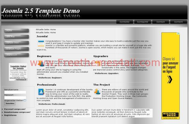 Vista Black Grey Abstract Joomla Theme Template