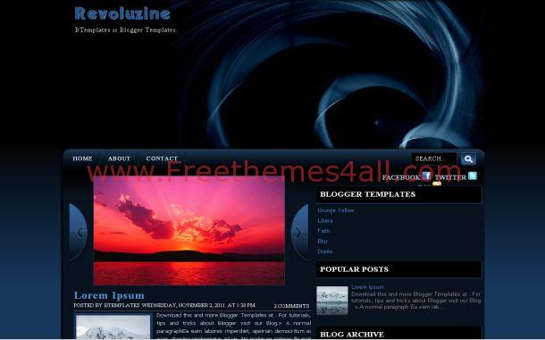 Spiral Blue Black Free Blogger Theme