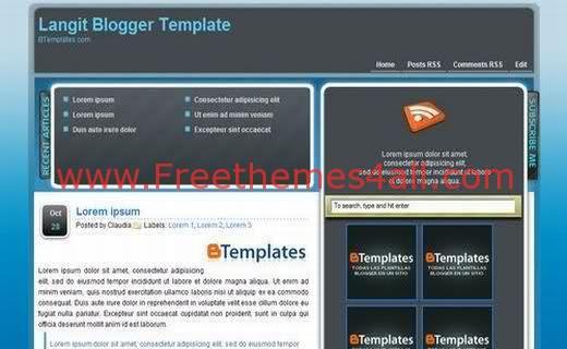 Free Blogger 4 Columns Light Blue Template
