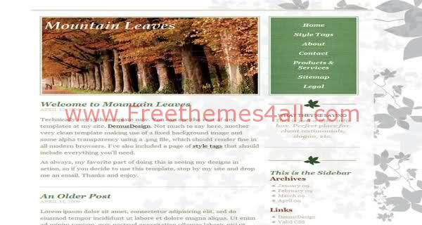 Free CSS Mountain Leaves Art Web2.0 Template