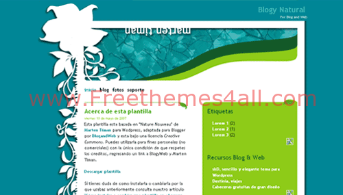 Free Blogger Natural Green Bleu Web2.0 Template