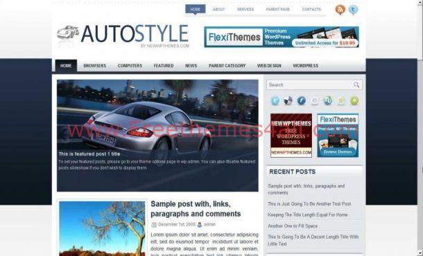 Free Gray Blue Auto Cars WordPress Theme