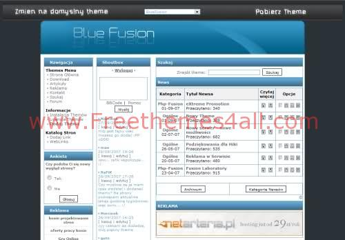 Free php-fusion Web2.0 Blue Theme Template