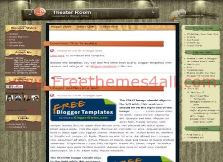 Free Blogger Theater Lovers Web2.0 Template