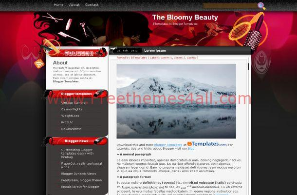Pink Red Beauty Salon Blogger Template