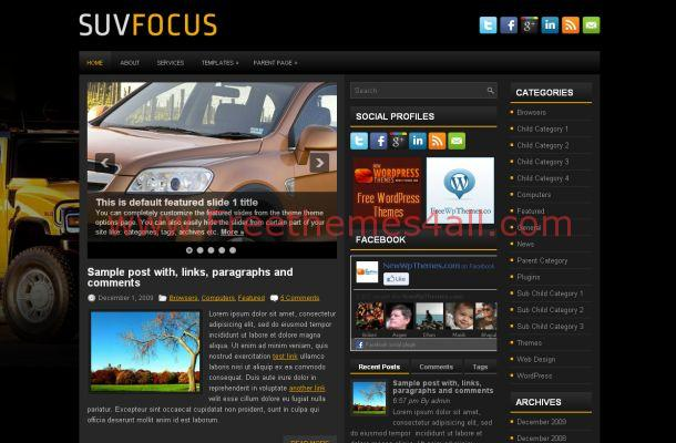 Black Yellow Cars Jquery WordPress Theme Template