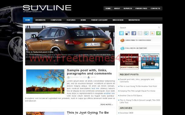 Free Jquery Black Cars WordPress Theme Template