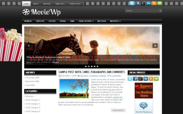 Grunge Black Movies Free Wordpress Theme