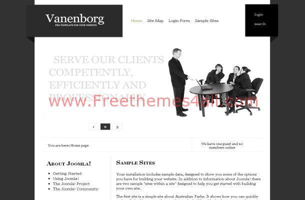 Free Joomla Black White Business Theme Template