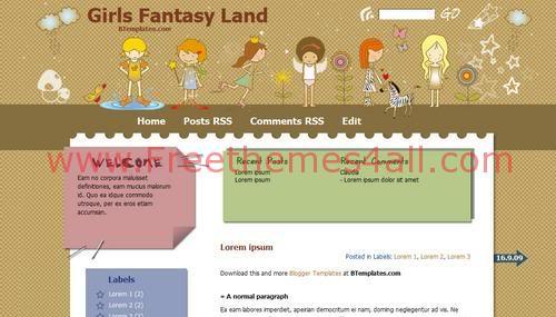 'Girls Fantasy Land Blogger Template