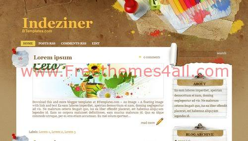 Free Blogger Paper Wall Design Web2.0 Template