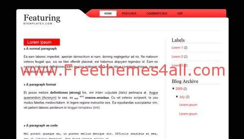 Free Blogger Simple Red Pink Blog Web2.0 Template