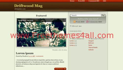 Free Blogger Wood War Magazine Web2.0 Template
