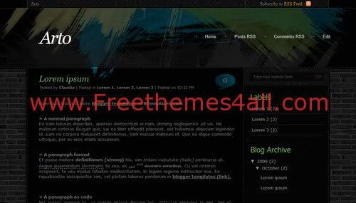 Free Blogger Painter Dark Black Web2.0 Template