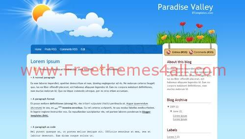 Free Blogger Valley Bleu Flowers Web2.0 Template