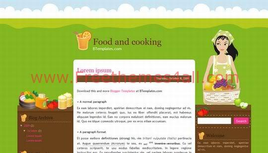 Free Blogger Cooking Food Green Template