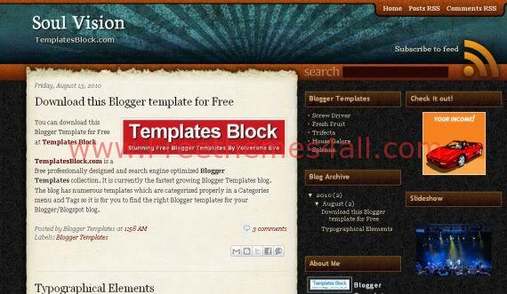 Free Blogger Soul Vision Brown Wood Template