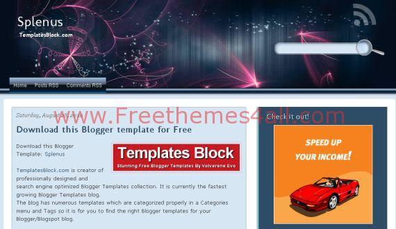 Free Blogger Splenus Vector Graphics Pink Template