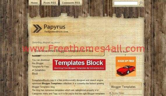 Free Blogger Papyrus Grunge Wood Template