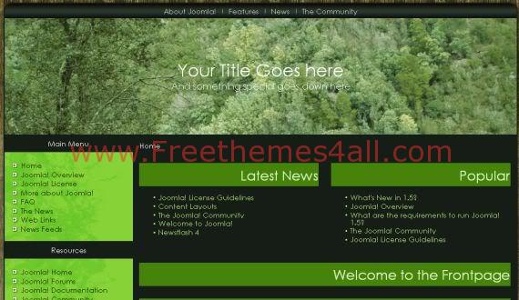 Free Joomla Natural Forest Green Black Template