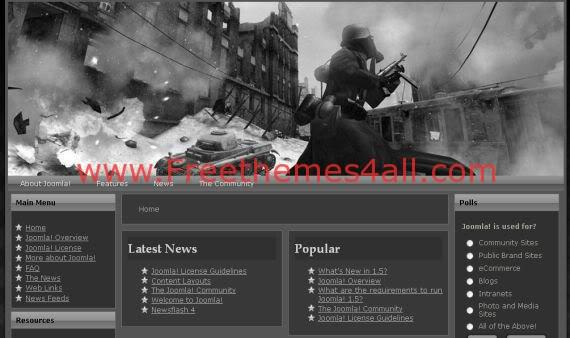 Black Call Of Duty Free Joomla Template