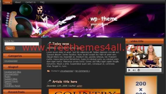 Black Music Guitar WordPress Theme