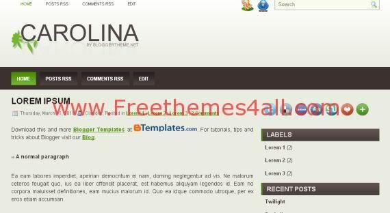 Free Blogger Carolina Light Green Template