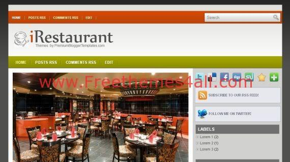 Gray Orange Black Blogger Restaurant Template