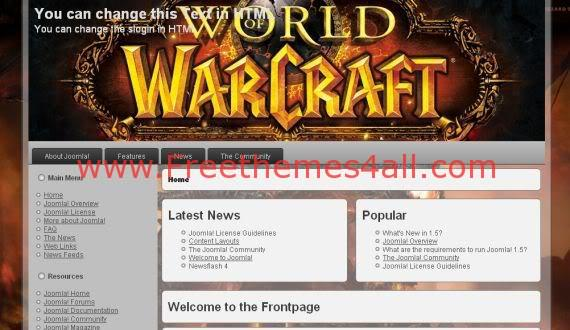 Brown WOW Warcraft Joomla Template