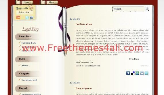 Free Brown Yellow Book Blog WordPress Theme