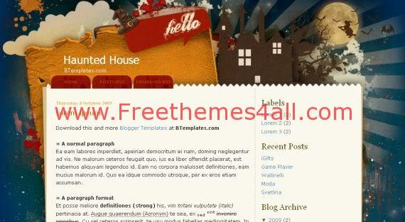 Free Halloween Haunted House Blogger Template