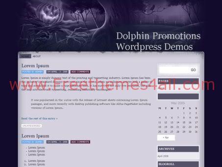 Free Halloween Dark Purple WordPress Theme