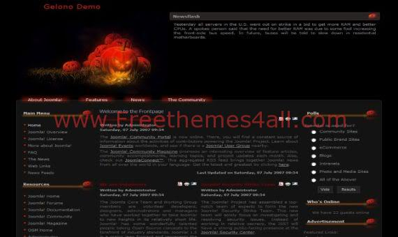Black Red Pumpkin Joomla Template