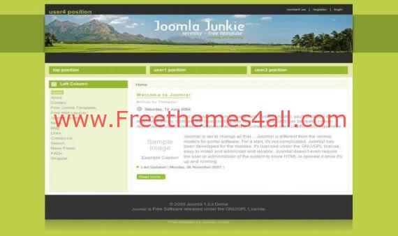 Serenity Green Natural Free Joomla Template
