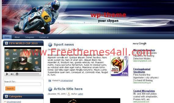 Free Sports Gray GP Moto WordPress Theme