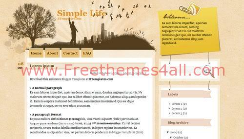 Free Blogger City Life Web2.0 Template