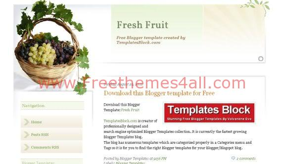 Free Blogger Fresh Fruit Nature Web2.0 Template