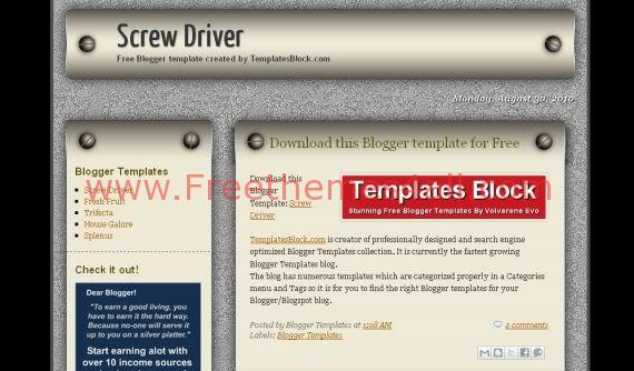 Free Blogger Screw Driver Iron Bolts Template