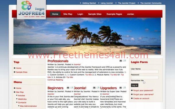 Free Blue Red Sea Flash Joomla Theme Template