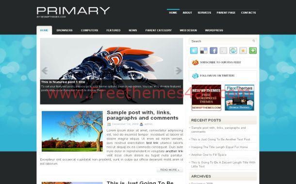Grunge Blue Black Jquery Free WordPress Theme