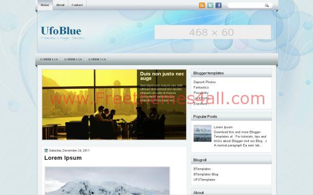 Simple Blue News Free Blogger Theme Template