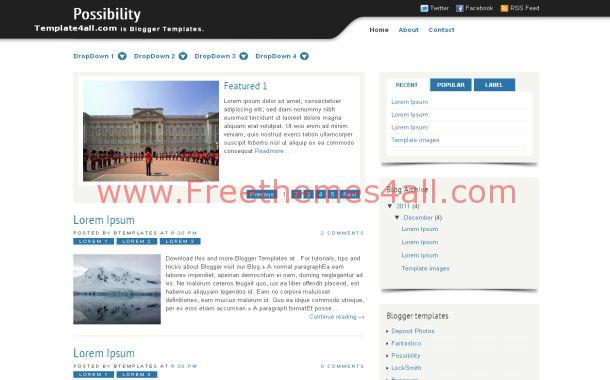 Blue Chrome Blogger Theme