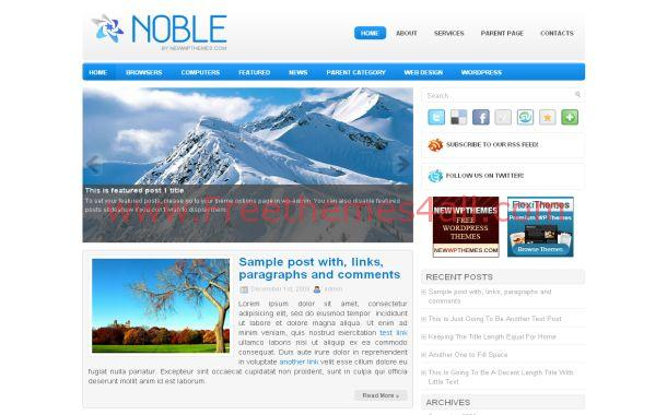Ice Blue Jquery Free WordPress Theme Template