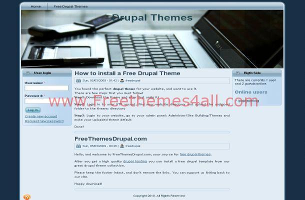 Free Drupal Blue Laptops Business Theme Template