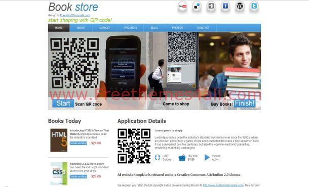 Free HTML5 Books Shop Blue Website Template