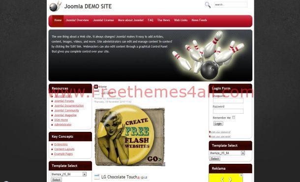 Free Grunge Bowling Joomla Theme Template