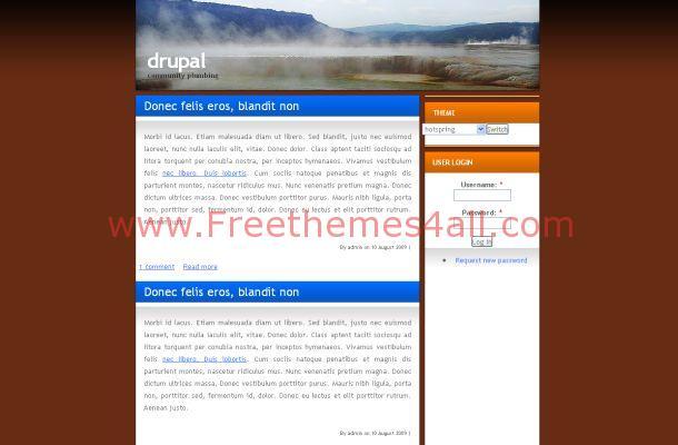 Free Drupal Orange Brown Nature Theme Template
