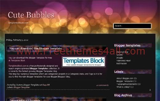 Free Blogger Cute Bubbles Web2.0 Template
