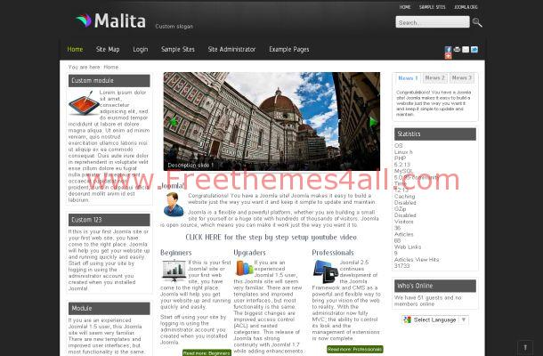 Dark Black Business Free Joomla Theme Template
