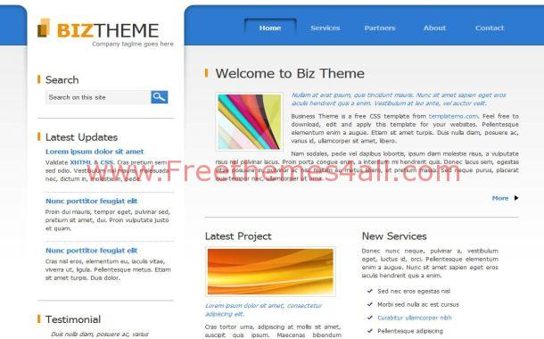 Free Blue Business Theme CSS Website Template